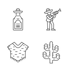 mexican culture linear icons set vector image