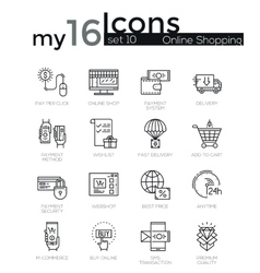 Modern thin line icons set of internet shopping vector