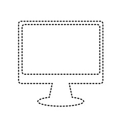 monitor with brush sign black dashed icon vector image
