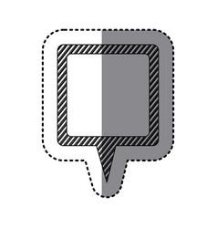 Monochrome sticker of square speech with tail and vector