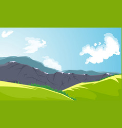 mountain peaks and green valley vector image
