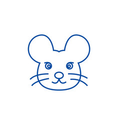 mouse head line icon concept mouse head flat vector image