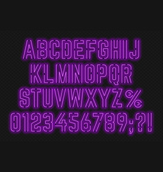 neon purple font with numbers and punctuation vector image