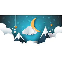 night landscape - cartoon cloud vector image