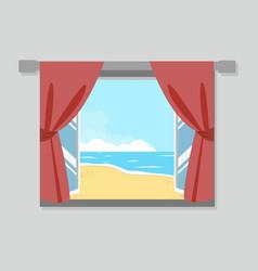 open window view of the beach vector image
