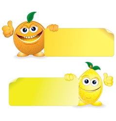 Orange and Lemon with Sign vector image