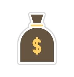 Paper sticker on white background money bag vector
