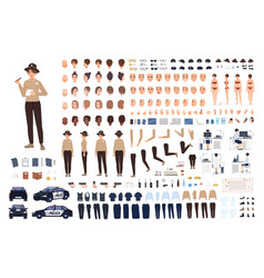 Policewoman constructor set or animation kit vector