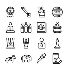 Politics line icons pack vector