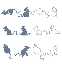 Rat or mouse isolated silhouettes and linear icons vector
