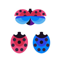 Red and blue ladybug and ladybird icons vector