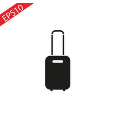 rolling suitcase icon on white background vector image