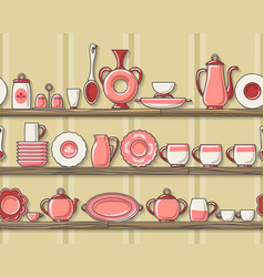 rustic kitchen seamless pattern vector image
