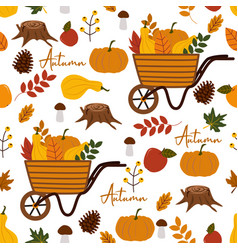 Seamless pattern with autumn elements vector