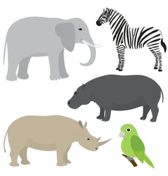 Set 1 of cartoon african animals vector