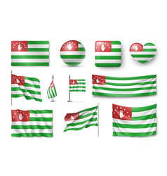 set abkhazia flags banners banners symbols vector image