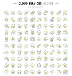 set line icons cloud services vector image