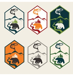 set of fishing camp labels vector image