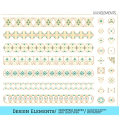 Set of geometric gold shapes vector