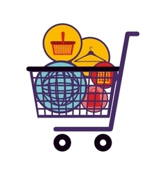 silhouette color with full shopping cart vector image