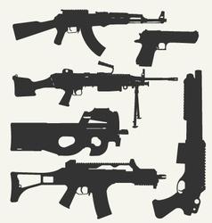 silhouette guns vector image