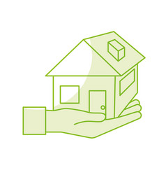 silhouette hand with house architecture design vector image