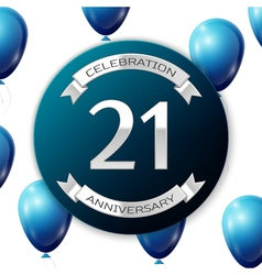 Silver number twenty one years anniversary vector