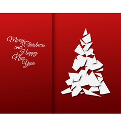 Simple christmas tree made from papers vector image