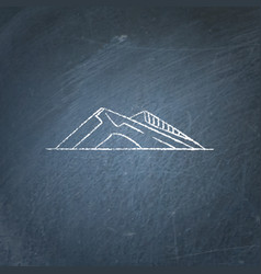 Sloping hills icon on chalkboard vector