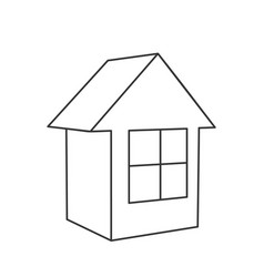small house wire-frame model on white background vector image