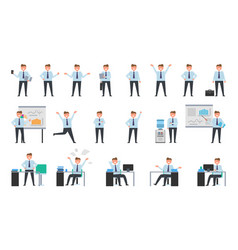 smiling businessman working collection of icons vector image