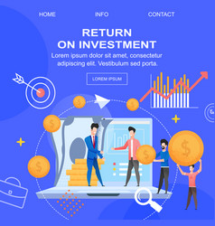 Square flat banner return on investment depositor vector