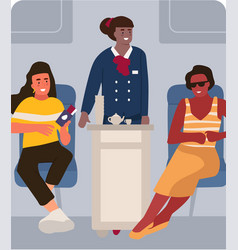 stewardess and passenger on plane people vector image