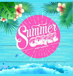 Summer poster on blue wooden background vector