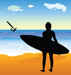 surfing people and beach vector image
