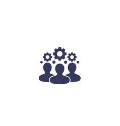 Team interaction hr management icon on white vector