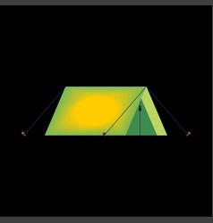 Tent in dark inside light isolated camp booth vector