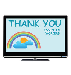 thank you essential workers tv message vector image