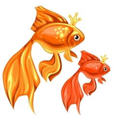 Two beautiful goldfish with magic crowns vector