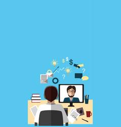 two businessmen talking about work via internet vector image