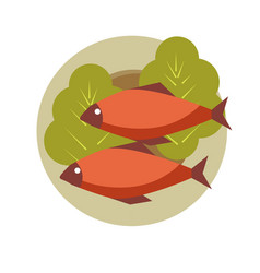 Two grilled fish on round plate with fresh lettuce vector