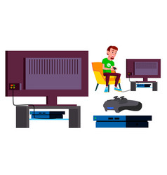 video game console teen playing modern vector image