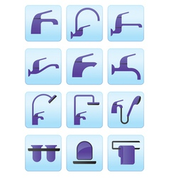Water taps and bathroom accessories icons set vector image