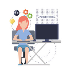 web developer working on computer programming vector image