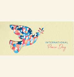 World peace day card for diverse people unity vector