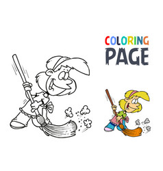 Young girl with a broom coloring page vector