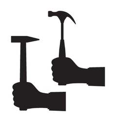 Black silhouette of a hand with a hammer vector image vector image