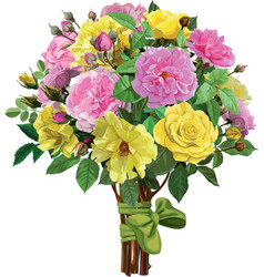 bouquet of pink and yellow roses vector image