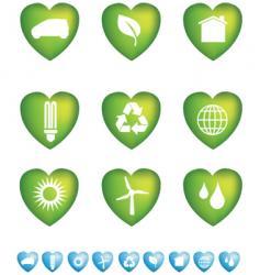 eco hearts vector image vector image
