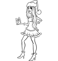 girl santa claus coloring page vector image
